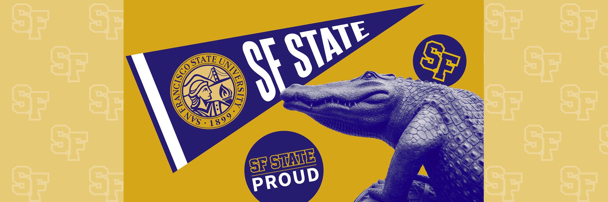SFSU branding with SF State flag and alligator