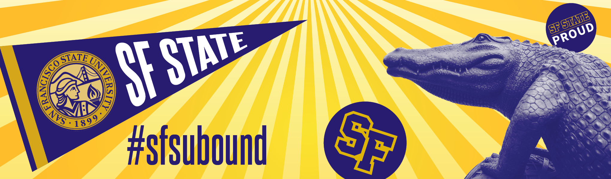 SFSU Bound banner with Gator art