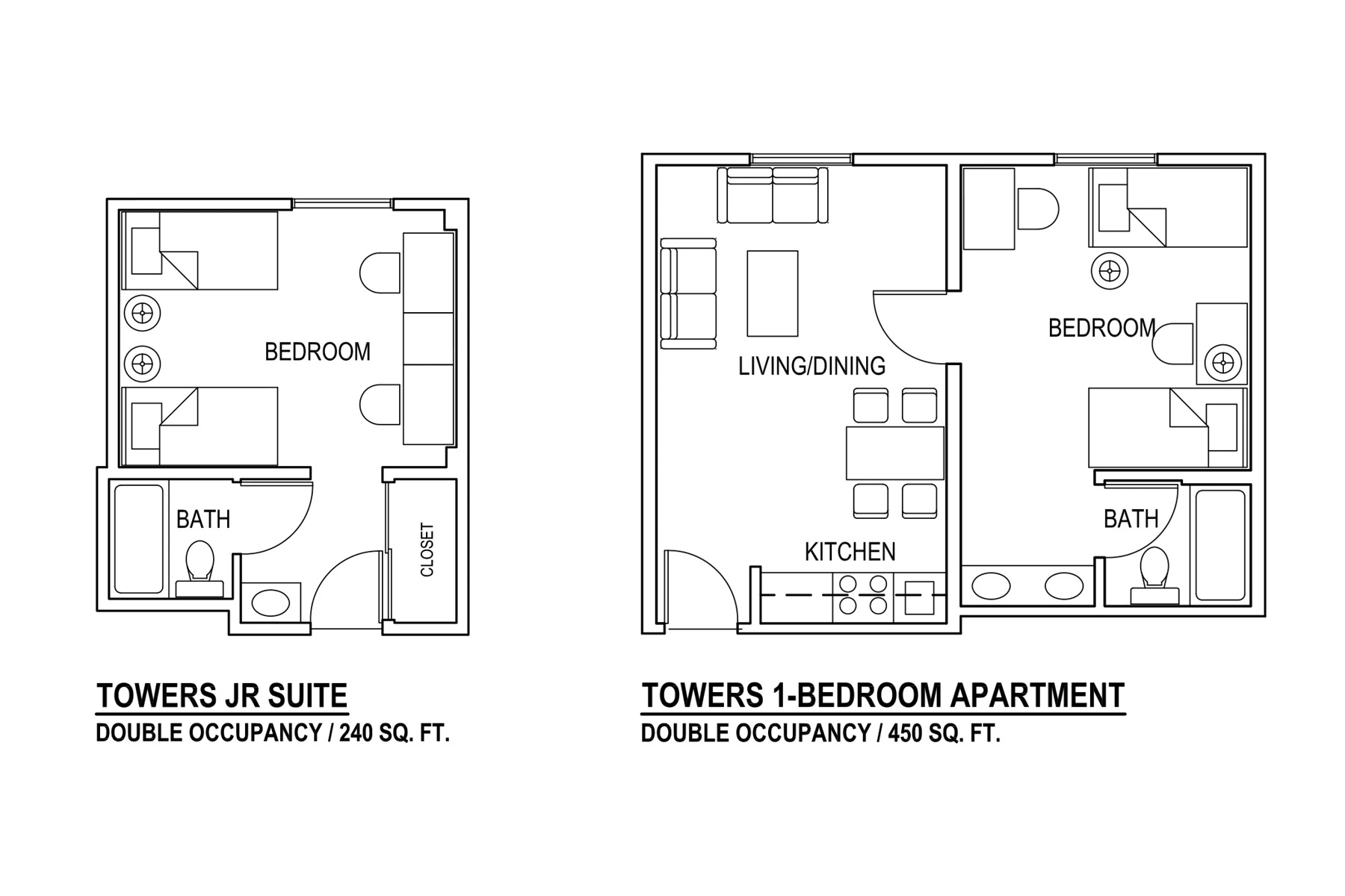 Towers JR Suite Double Occupancy / 240 sq. ft | Towers 1-Bedroom Apartment Double Occupancy / 450 sq. ft.