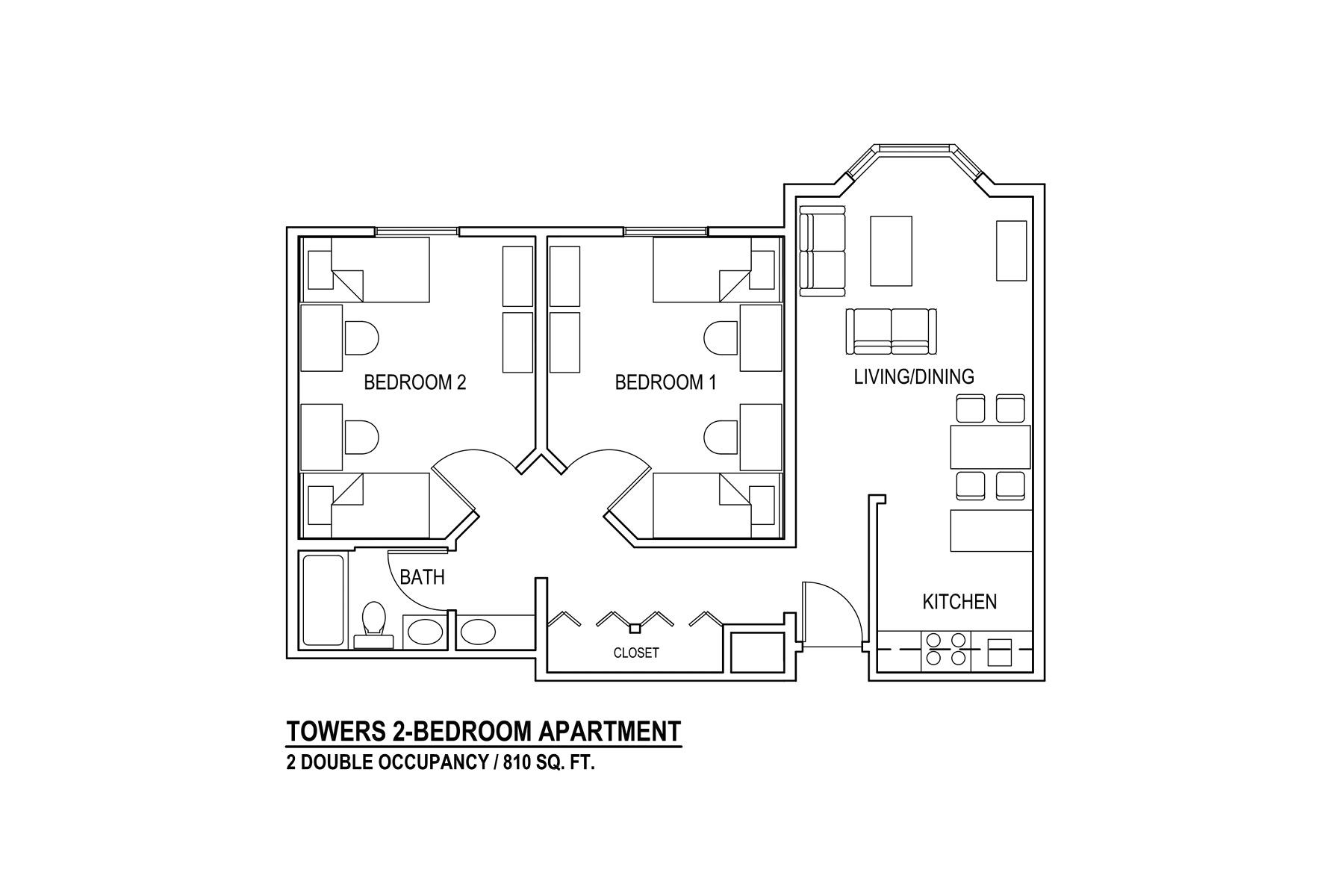 Towers 2-Bedroom Apartment 2 Double Occupancy / 810 sq. ft