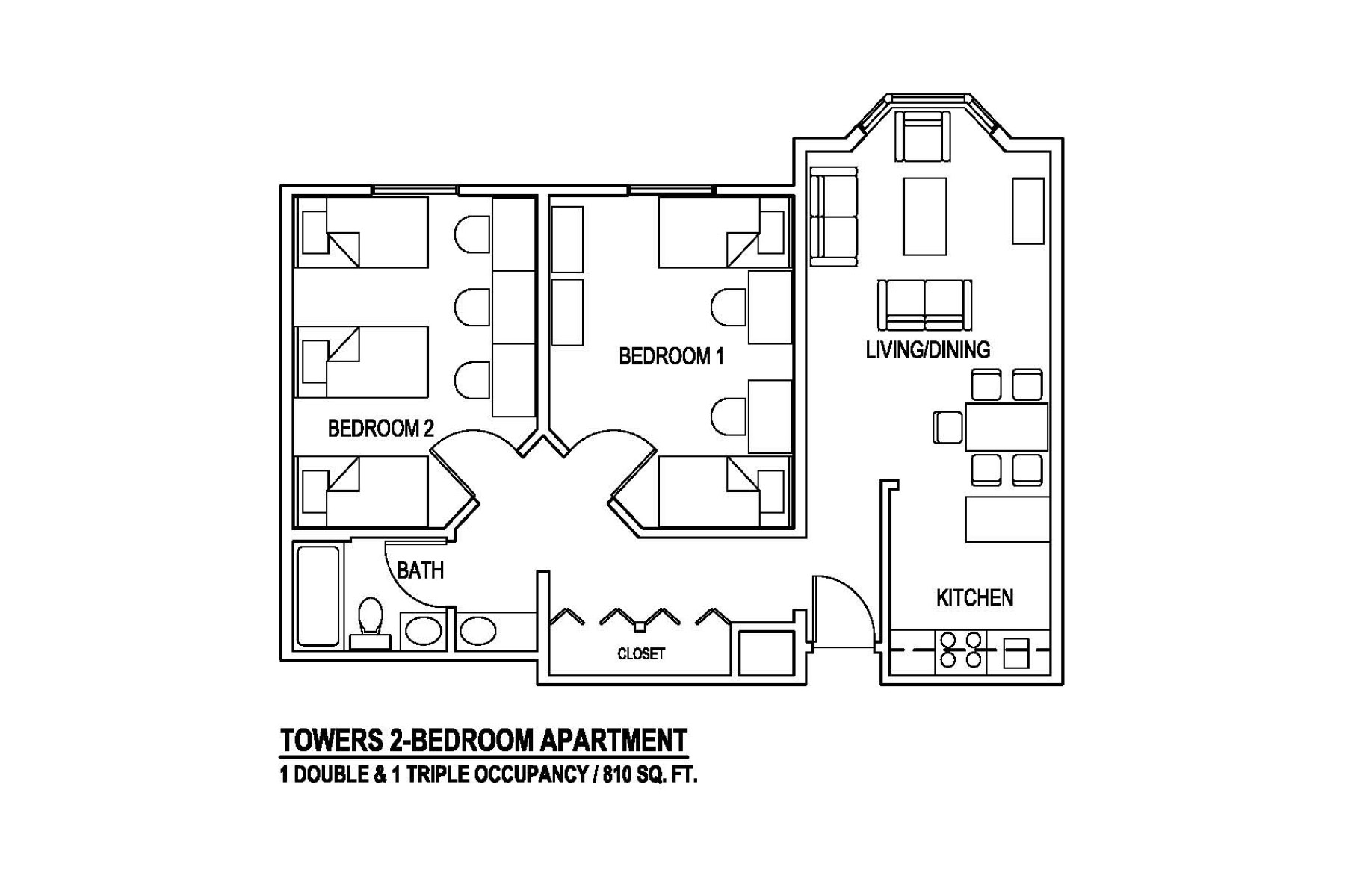 Towers 2-Bedroom Apartment 1 Double & 1 Triple Occupancy / 810 sq. ft