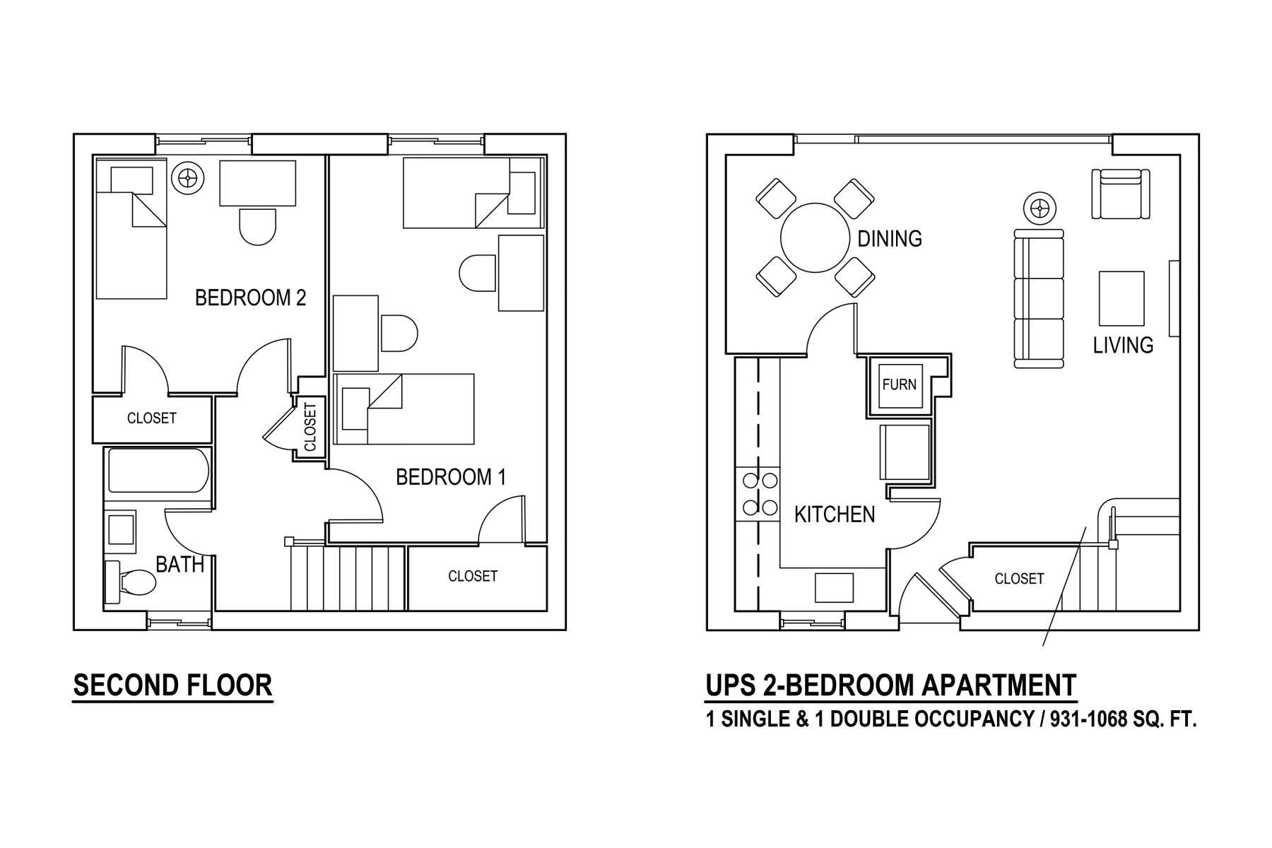 UPN 2-Bedroom Garden Apartment 1 Single & 1 Double Occupancy / 931-1068 sq. ft.