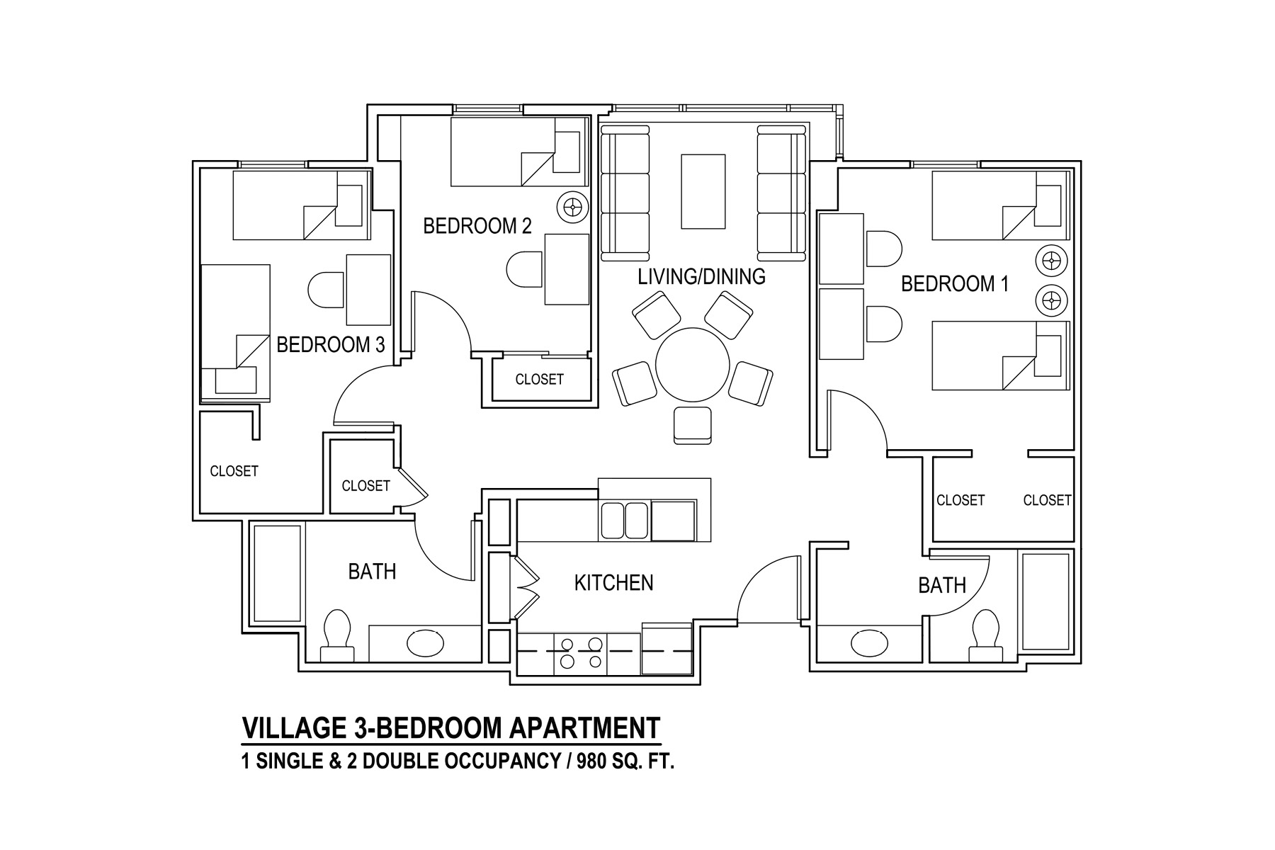 Village 3-Bedroom Apartment 1 Single & 2 Double Occupancy / 980 sq. ft.
