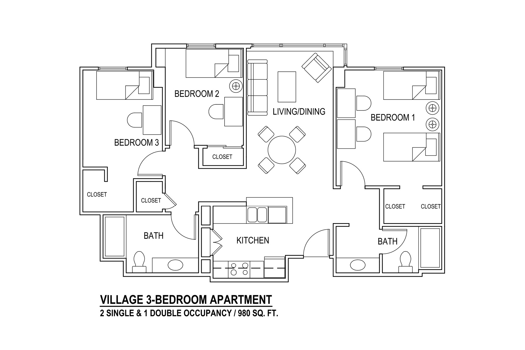 Village 3-Bedroom Apartment 2 Single & 1 Double Occupancy / 980 sq. ft.