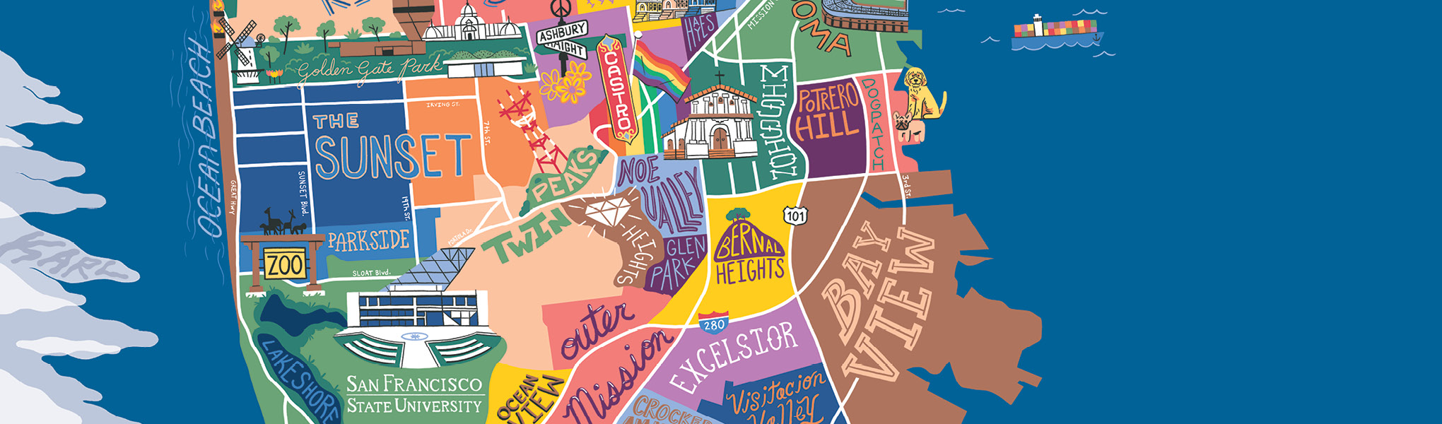 Illustration of San Francisco city map identifying key districts and locations