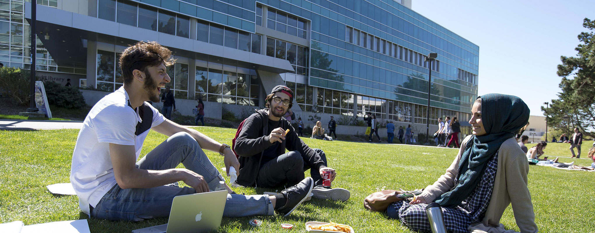 Three students sitting on the grass